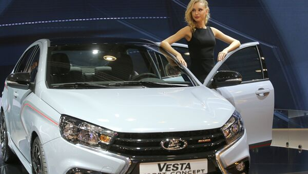 Lada Vesta Sport Concept at the 2016 Moscow International Automobile Salon at Crocus Expo in Moscow - Sputnik International