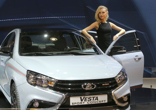 Lada Vesta Sport Concept at the 2016 Moscow International Automobile Salon at Crocus Expo in Moscow