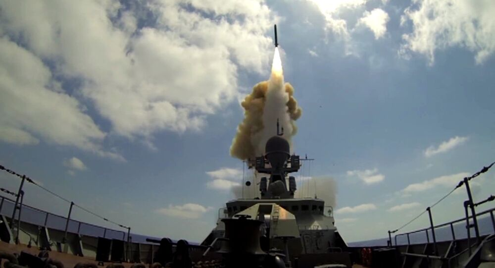 A Russian Navy ship launches a Kalibr cruise missile at the Jabhat Al-Nusra terrorist groupfrom the Mediterranean Sea. File photo