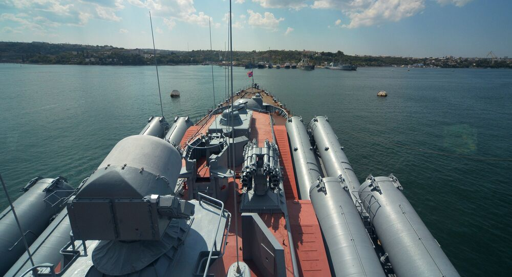 Russian cruiser Moskva of the Black Fleet at a port in Sevastopol