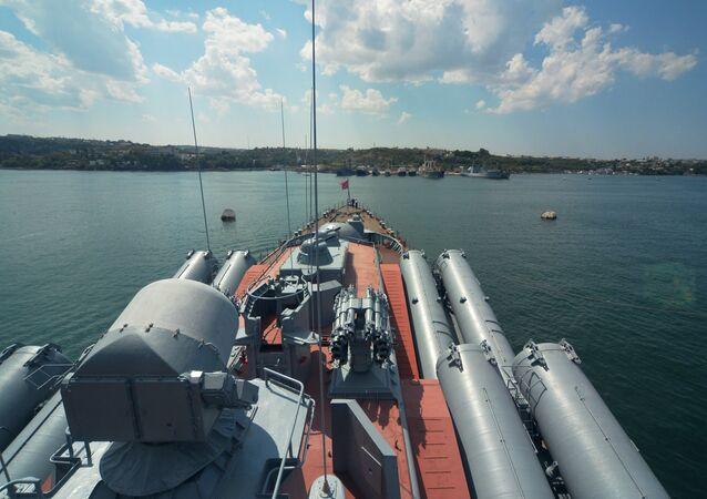 Russian cruiser Moskva of the Black Fleet at a port in Sevastopol