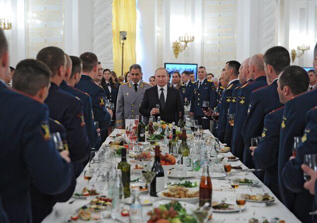 Russian President Vladimir Putin hosts reception in honor of military academy graduates