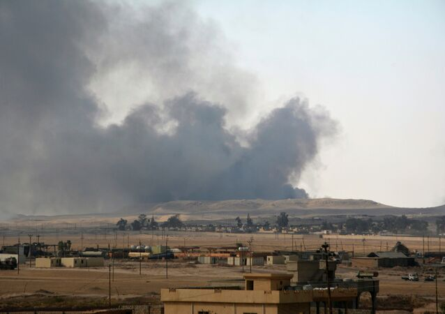 Smoke rises from clashes between Iraqi security forces and Islamic State militants in the town of Qayyara, Iraq August 24, 2016