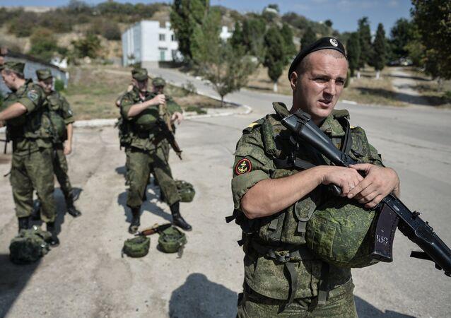 Soldiers at the Russian Black Sea Fleet base in Sevastopol