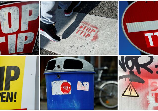A combination photo shows signs against the Transatlantic Trade and Investment Partnership (TTIP) free trade agreement.