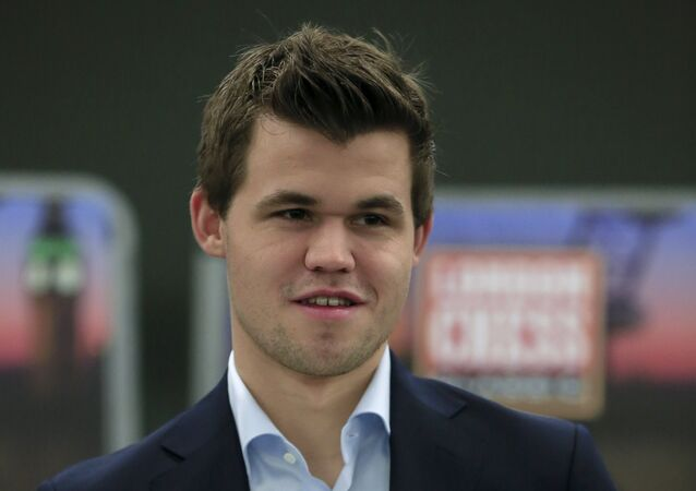 Magnus Carlsen, of Norway, the current world chess champion and ranked number one in the world, seen prior to the start of the London Chess Classic tournament in London, Friday, Dec. 4, 2015