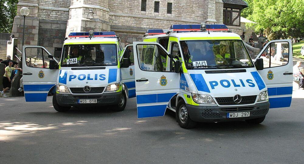 Swedish police vans in Stockholm