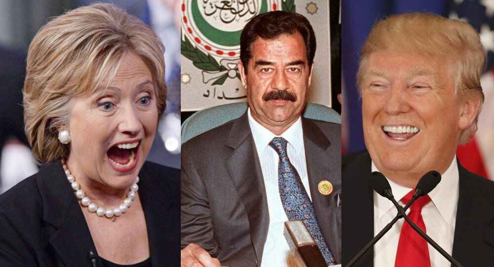 Hillary Clinton, Saddam Hussein, Donald Trump
