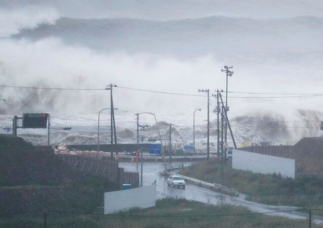 High waves triggered by Typhoon Lionrock crash on a coast of the city of Ishinomaki, Miyagi Prefecture, Japan, in this photo taken by Kyodo August 30, 2016