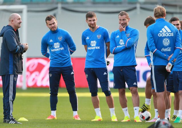 Russian national football team holds training session. file photo