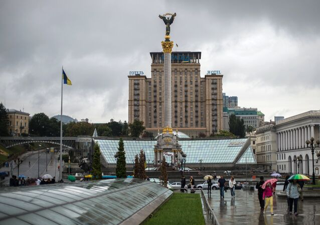Monument of Independence of Ukraine on Independence Square in Kiev