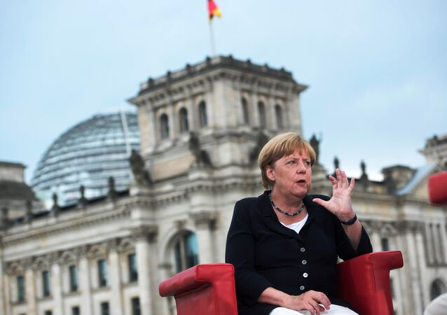 German Chancellor Angela Merkel talks during ARD summer-interview infront of Reichstag in Berlin, Germany, August 28, 2016.