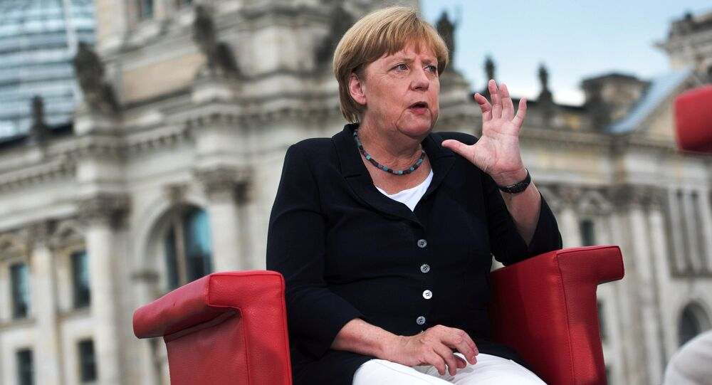 German Chancellor Angela Merkel talks during ARD summer-interview infront of Reichstag in Berlin, Germany, August 28, 2016.