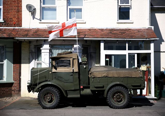 A vintage military vehicle displays an English flag in Clacton-on-Sea, a town in eastern England, where 70 percent of people voted on June 23, 2016 to leave the European Union, Britain August 23, 2016.