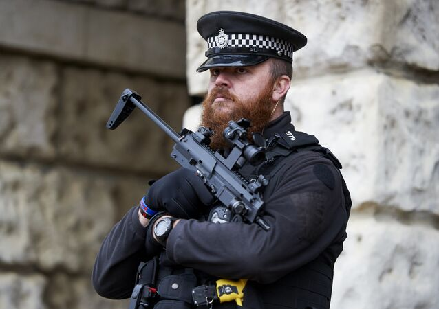 Armed British police officers stand on duty in central London on November 25, 2015.