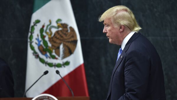 US presidential candidate Donald Trump leaves after a joint press conference with Mexican President Enrique Pena Nieto (out of frame) in Mexico City on August 31, 2016. - Sputnik International