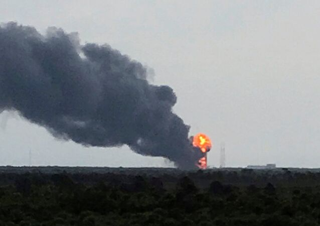 An explosion on the launch site of a SpaceX Falcon 9 rocket is shown in Cape Canaveral, Florida