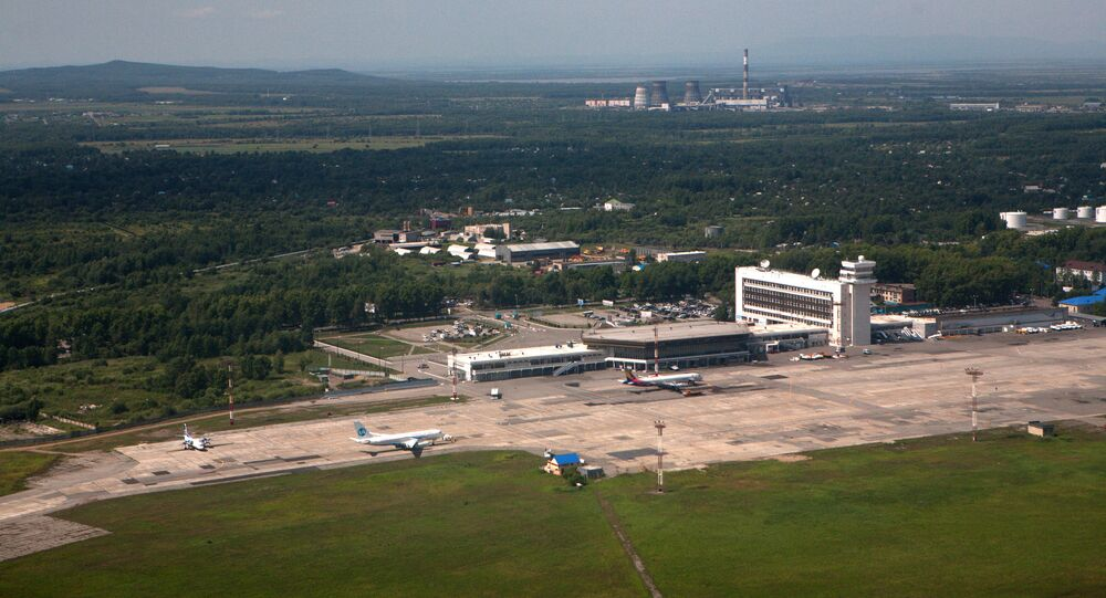 View of the New-Khabarovsk international airport from on board an airplane.
