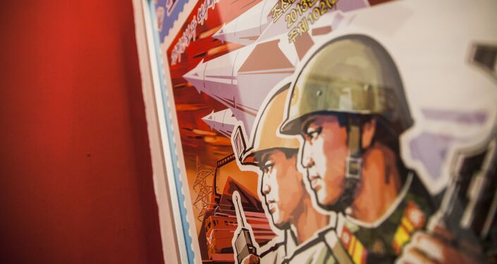 North Korean poster on the wall in the bar