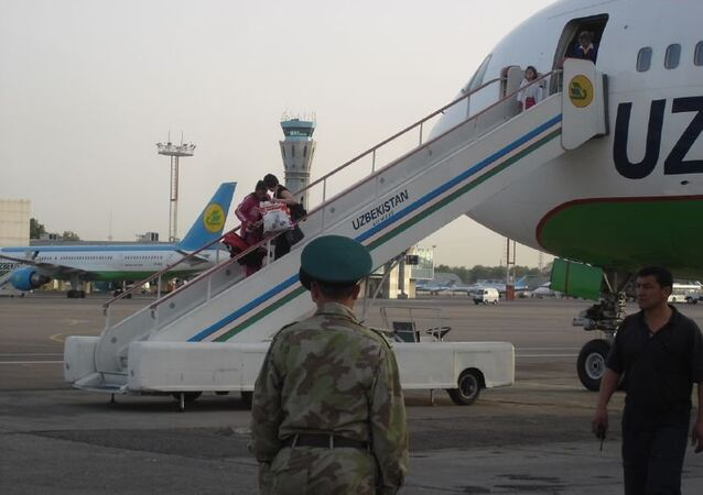 Uzbekistan Airways gangway in Tashkent International Airport