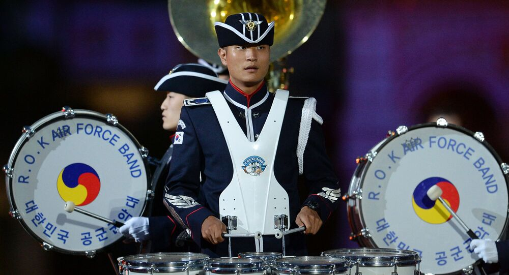 The Republic of Korea Air Force Band at the opening of the Spasskaya Tower International Military Music Festival in Red Square, Moscow.