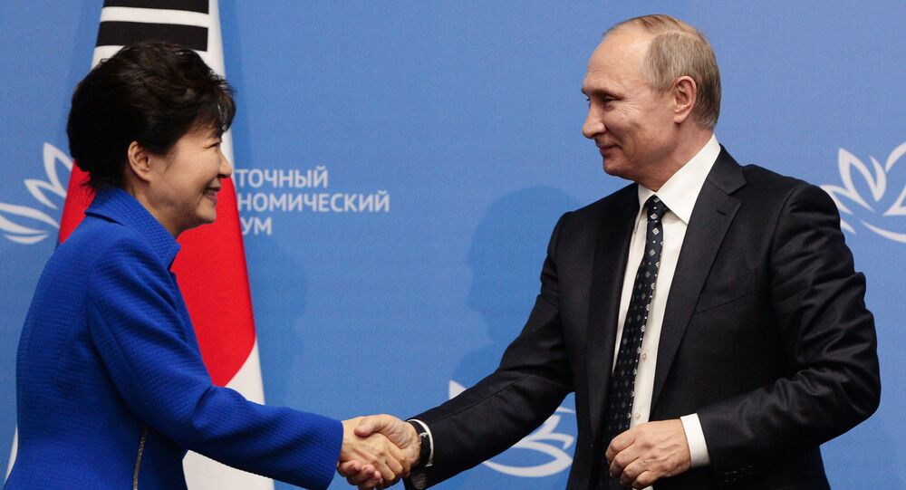 September 3, 2016. Russian President Vladimir Putin and South Korean President Park Geun-hye after a press conference following the Russian-South Korean talks as part of the Eastern Economic Forum.