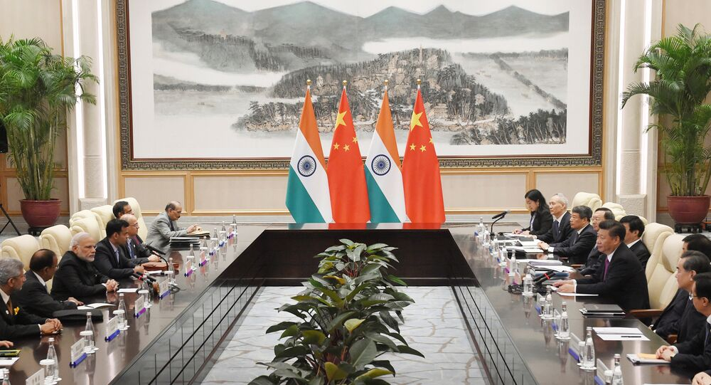 Indian Prime Minister Narendra Modi (3rd L) meets with Chinese President Xi Jinping (center R) at the West Lake State Guest House ahead of G20 Summit in Hangzhou, Zhejiang province, China, September 4, 2016.
