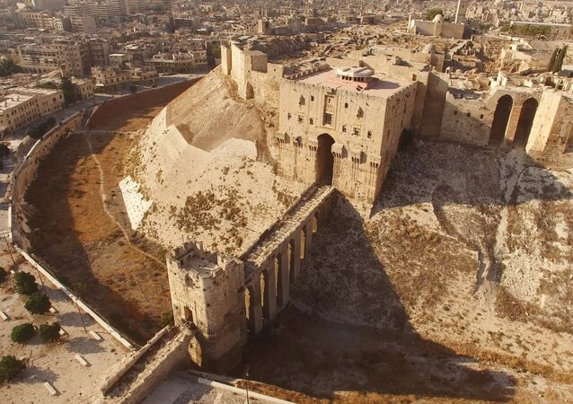 Aerial view of the Citadel, located in the old city of Aleppo (File)