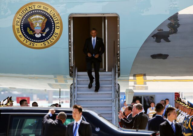 U.S. President Barack Obama arrives at Hangzhou Xiaoshan international airport before the G20 Summit in Hangzhou, Zhejiang province, China