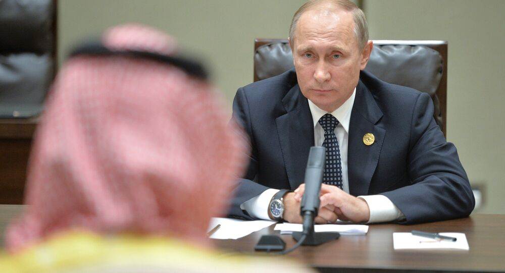 Russian President Vladimir Putin during a meeting with Deputy Crown Prince and Defense Minister of Saudi Arabia Muhammad bin Salman Al Saud as part of the G20 Summit in Hangzhou