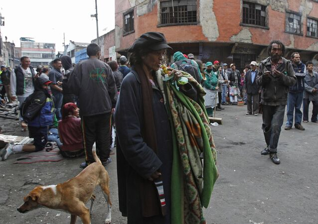 Drug addicts and homeless gather at area known as Bronx street in downtown in Bogota, Colombia, Monday April 1, 2013
