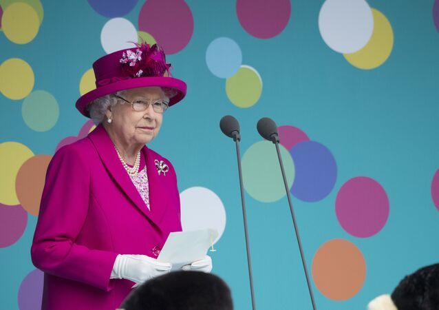 Britain's Queen Elizabeth II makes a speech as she attends the Patron's Lunch on the Mall, an event to mark her official 90th birthday in London on June 12, 2016.