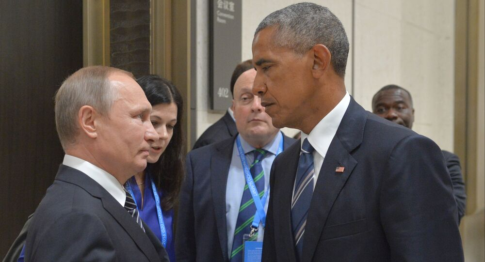 Vladimir Putin and Barack Obama at G20 Summit in Hangzhou, September 2016.