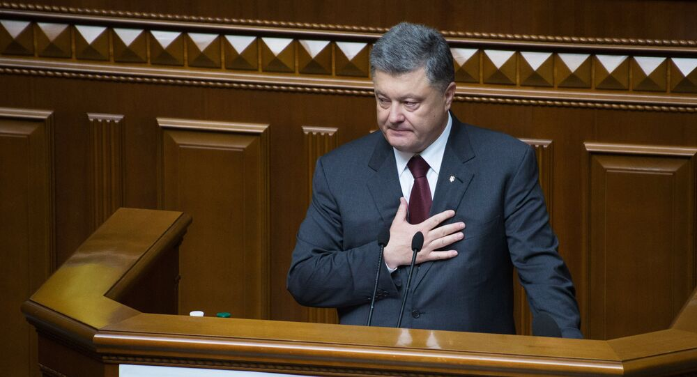 President of Ukraine Petro Poroshenko speaks during a meeting of the Verkhovna Rada in Kiev