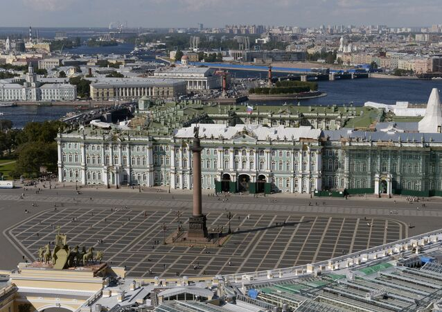 A view of the Palace Square and State Hermitage Museum in St. Petersburg. The photo was taken from a helicopter.
