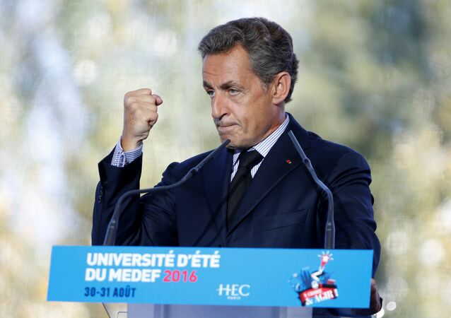 Nicolas Sarkozy, former head of the Les Republicains (LR) political party speaks at the French employer's body MEDEF union summer forum on the campus of the HEC School of Management in Jouy-en-Josas, near Paris, France, August 31, 2016.