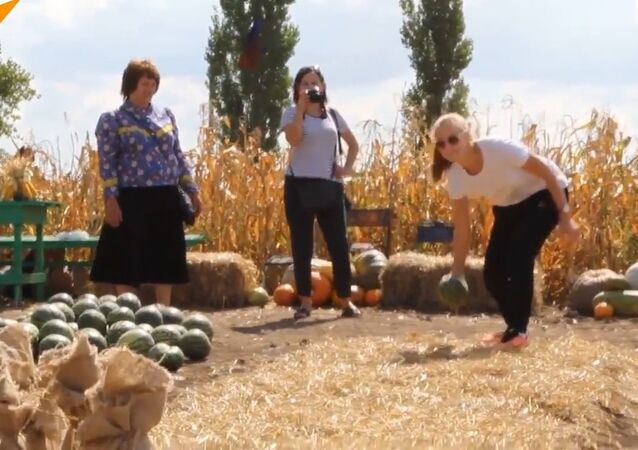 People Play Watermelon Bowling
