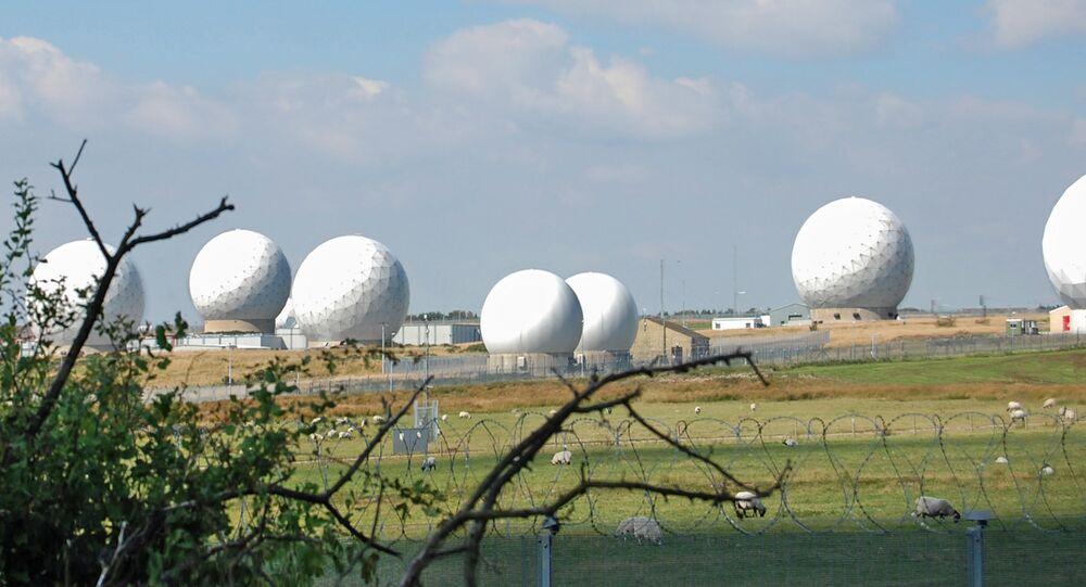 Surveillance domes at Menwith Hill