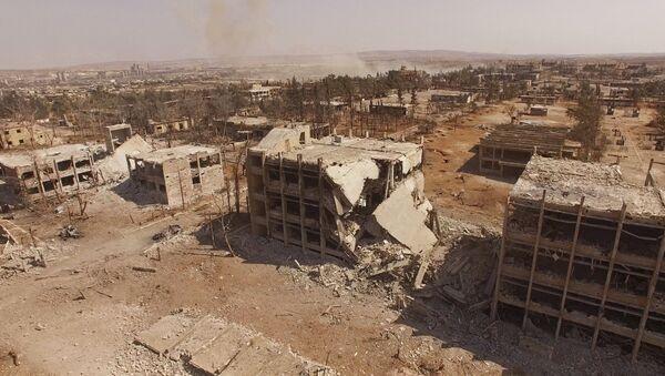 Destroyed buildings of the Syrian Air Force school in Aleppo, Syria - Sputnik International
