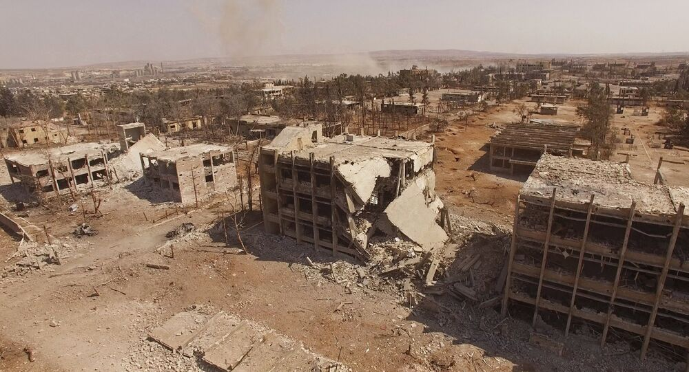 Destroyed buildings of the Syrian Air Force school in Aleppo, Syria