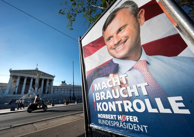 An election campaign poster of the presidential candidate Norbert Hofer from the far-right Freedom Party (FPOe) is pictured on August 31, 2016 in Vienna