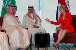Britain's Prime Minister Theresa May (R) and Saudi Arabia's Deputy Crown Prince Mohammed bin Salman (L) meet ahead of G20 Summit in Hangzhou, Zhejiang province, China, September 4, 2016.