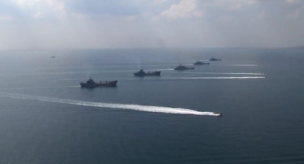 The ships of the Black Sea Navy Fleet and the Caspian Flotilla during the Kavkaz-2016 field and CP exercise