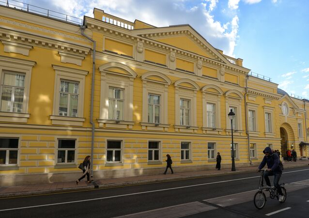 The restored facade of the historical building of the Moscow Helikon Opera Musical Theater