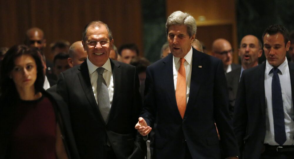 U.S. Secretary of State John Kerry, left, and Russian Foreign Minister Sergey Lavrov, walk in to their meeting room in Geneva, Switzerland, Friday, Sept. 9, 2016