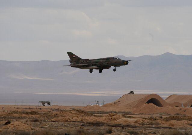 An aircraft of the Syrian Arab Army (SAA) Air Force at an aerodrome 50 km off Palmyra.