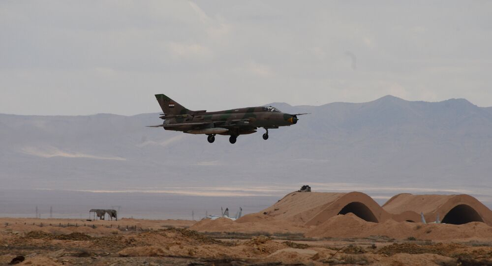 An aircraft of the Syrian Arab Army (SAA) Air Force at an aerodrome 50 km off Palmyra.