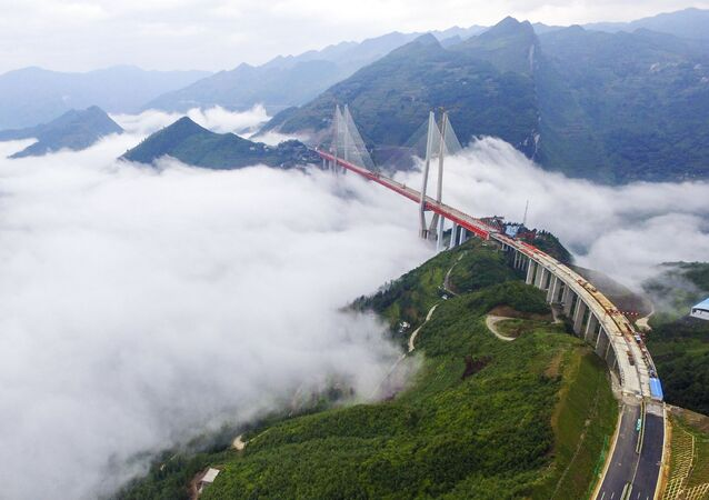 This picture taken on September 10, 2016 shows the Beipanjiang Bridge, near Bijie in southwest China's Guizhou province.
