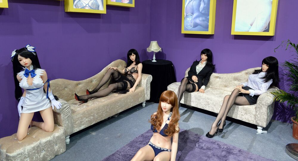 Adult sex dolls are on display during the 2016 Shanghai International Adult Toys and Reproductive Health Exhibition in Shanghai