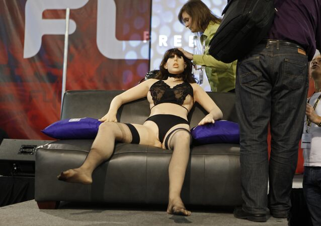 A life-size rubber doll named Roxxxy is on display during the Adult Entertainment Expo in Las Vegas